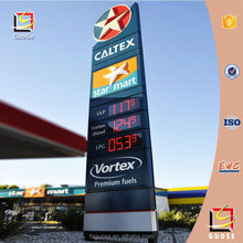 Led display board advertising price pylon for gas station sign
