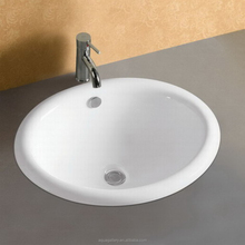 Oval Shaped Countertop Mounted White Ceramic Wash Basin