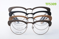 new arrival glasses frames new design wood imitation temples/arms with metal bridge half metal rim big round frame