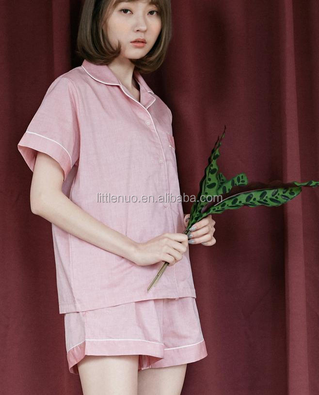 NP0055Z-F Turn-down Collar Blouse Shirt + Shorts Sleepwear Casual Fashion Loose Short-Sleeved Pyjamas Suit