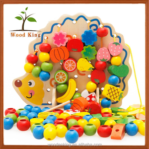 Hedgehog Fruit String Round The Beads Sawing Wisdom Early Teaching Wooden Toys Wholesale Kids Educational Toy 2 Year Old