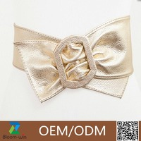 Solid color bowknot PU belt with a large square buckle women belt