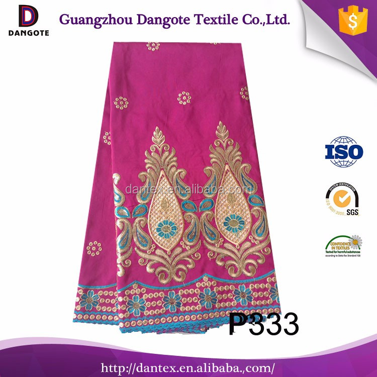 Unique design china raw silk with price raw silk heavy stones beaded georges/george lace in fushia P333