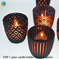 shiny glass candle containers for door decoration