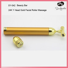Electric V-shape Gold Energy Beauty Bar for Facial Massage