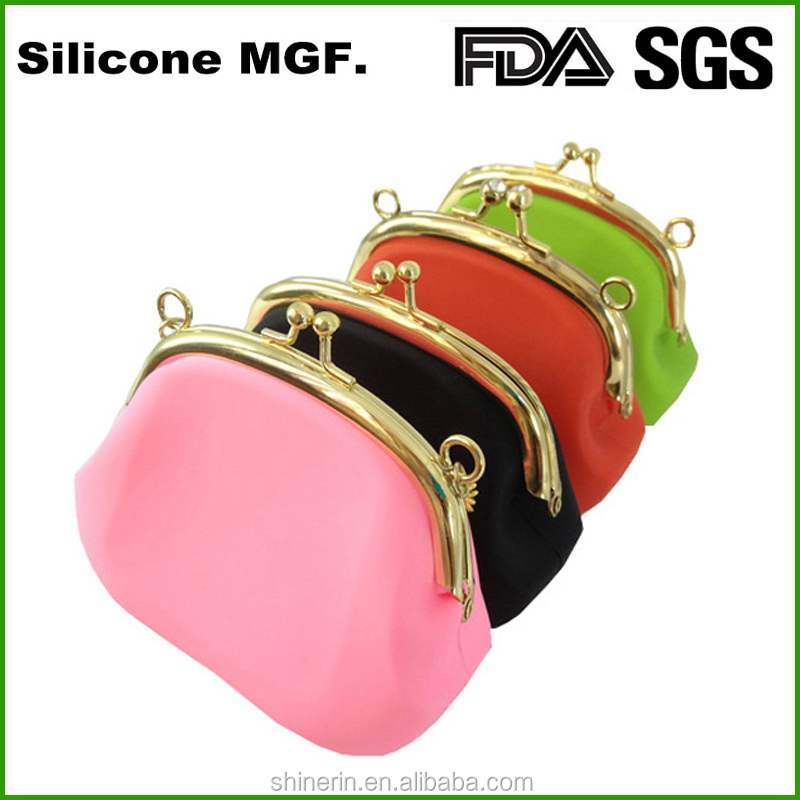 Logo printing smart stuff silicon materail luxury coin purse for ladies