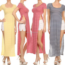 SEXY STRIPED SHORT SLEEVE DOUBLE BODICE HIGH SPLIT OPEN MAXI TEE SHIRT DRESS