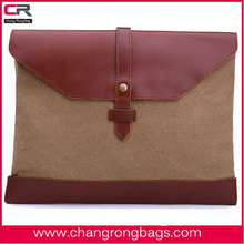 2014 fashion and design leather with canvas messenger bags made in China