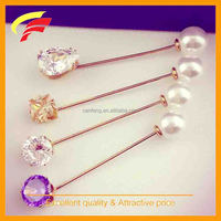 Metal long needle pin brooch with pearl and acrylic glass for evening dress