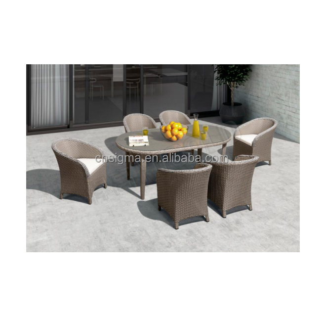 7 Pieces Modern Dining Table Sets Oval garden wicker patio dining room furniture