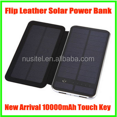 New Arrival 10000mAh Touch Screen Flip Leather Solar Power Bank Dual USB 5V 2A,case power bank