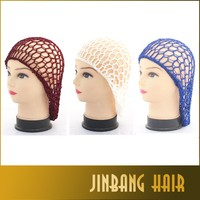 2016 Alibaba Top Quality Women Hairnet Sleep Cap Lady Soft Rayon Snood Hair Net Crochet Hairnet