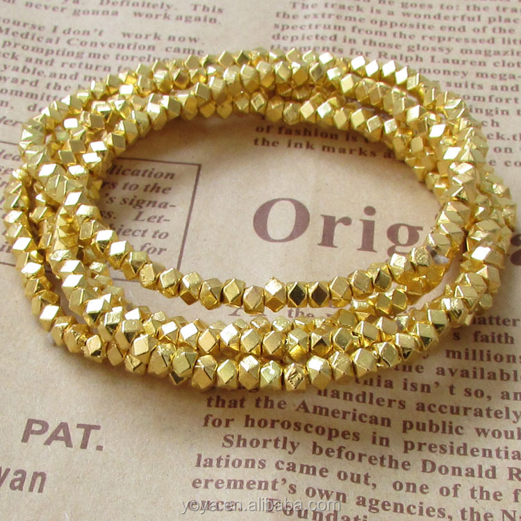 BRR0713 Fashion 4mm gold dainty nugget beaded bracelet