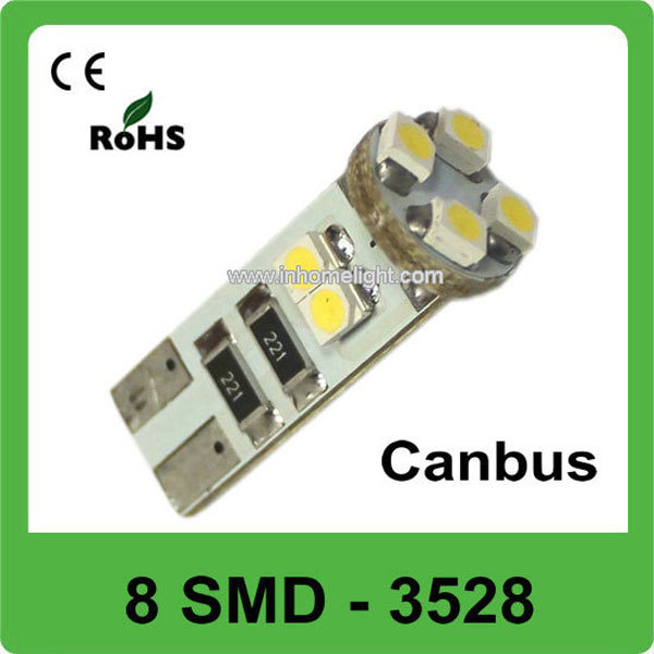 Hot sale Wedge 8 SMD 3528 12v 8w led car bulb