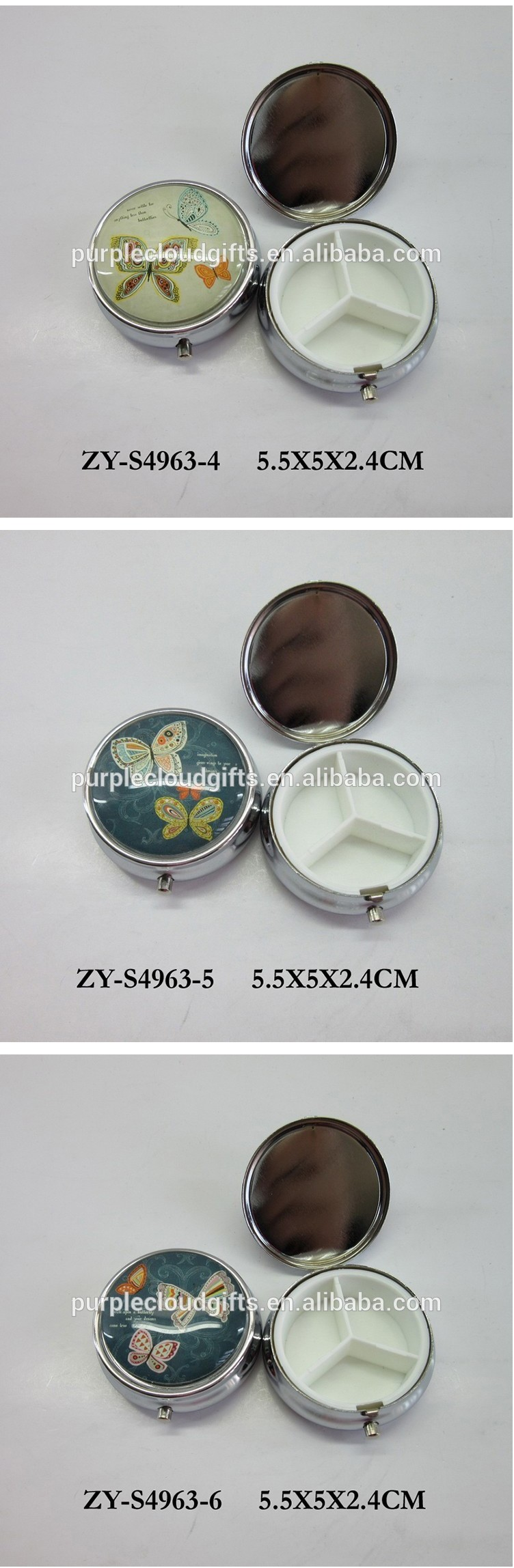 Customed Butterfly glass metal mini pocket pill box for gift