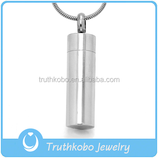 316 Stainless Steel Opening Cylinnder Ash Necklace Hot Selling Silver Stainless Steel Bullet Cremation Urn Pendant for Ashes