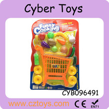 Hot selling DIY mini grocery shopping cart with Fruits and vegetables for kids for sale