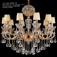10pcs light alloy gold color chandelier lighting new classical crystal lamp