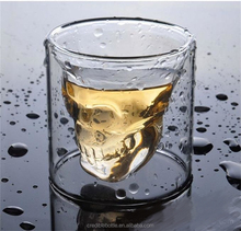 Borosilicate 200ml drinking glass cup skull whisky cups wholesale