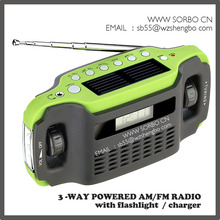2-way Solar Power Dynamo Crank Emergency AM/FM Radio with Flashlight and Cellphone charger