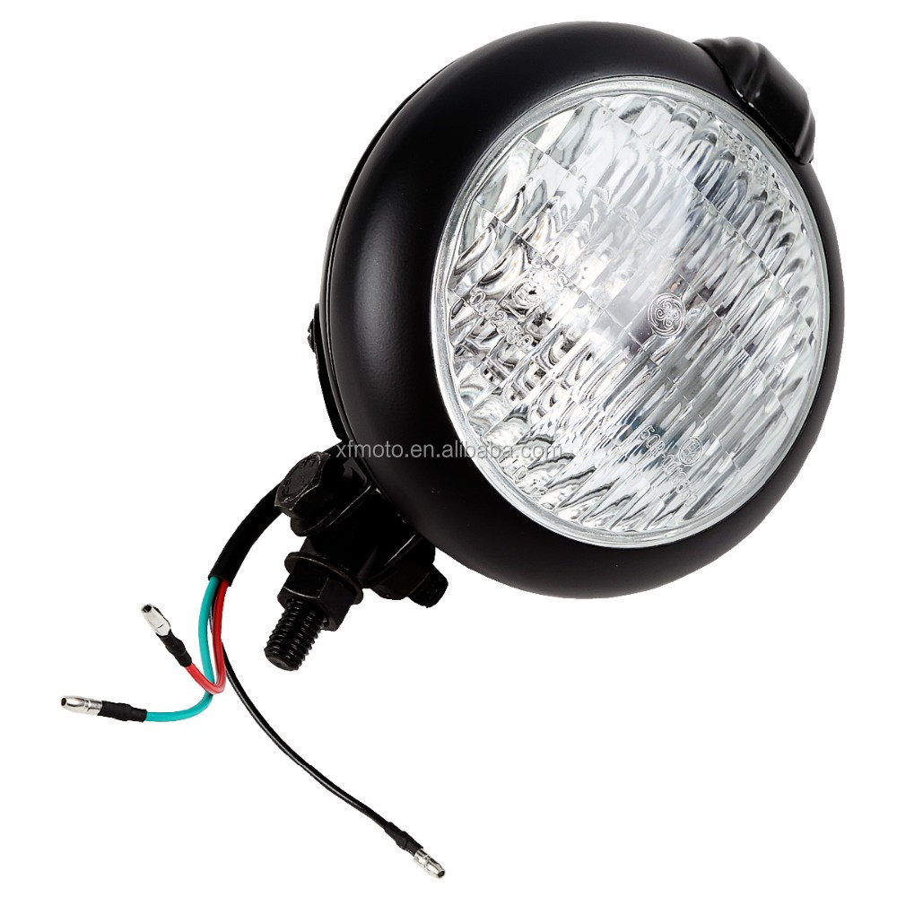 Black Bates Style Headlight Lamp For Triumph Chopper Bobber Softail Dyna cafe racer