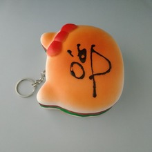 sticky and lovely cat's head burger squeezes the child's fun stress-relieving toy key chain