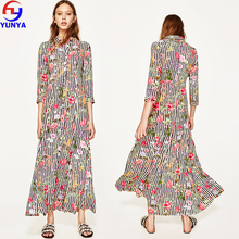 China manufacturer new product fashion casual half sleeve print stripe floral long maxi shirt dress
