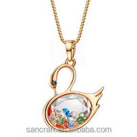 Wholesale glass bottle Luxury crystal Western rose gold swan necklace for parties costume fine fantasy jewelry