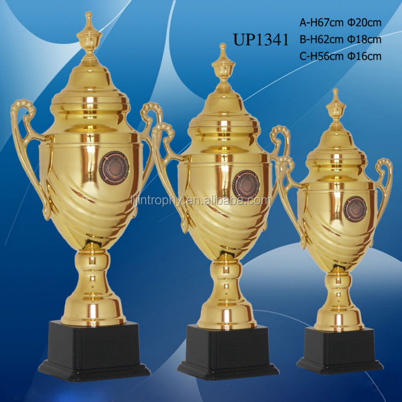 2014 custom metal gold plated champion premier league trophy
