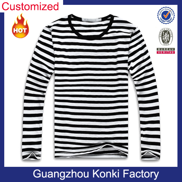 OEM customized direct factory korean fashion modern men's stripe t shirt