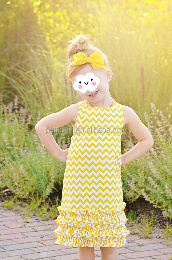 Children clothing overseas baby toddler dress yellow chevron little girls ruffle smocked dress