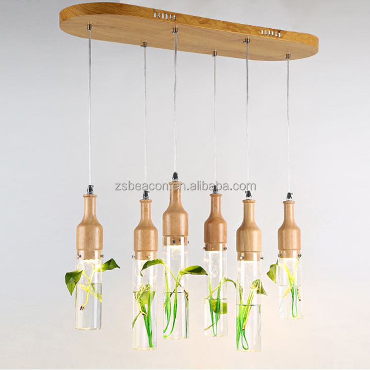 2017 fashion designer lights wooden and glass plant inside with three changing color temperature pendant light for MP161006