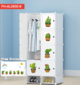 Milk white color Storage organizer wardrobe with cartoon stiker (FH-AL0530-8)