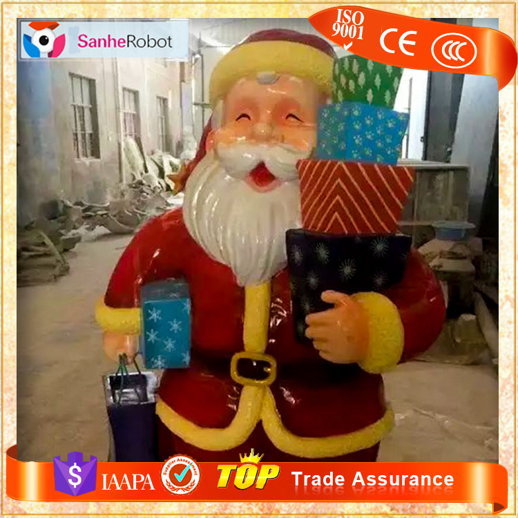 Christmas outdoor stuffed decorations life size fiber optic polyresin SANTA CLAUS