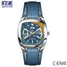 custom 5atm water resistant genuine leather square watch for men