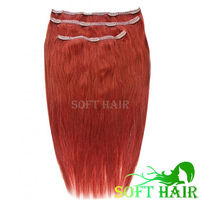 Wholesale high quality 100% remy brazilian hair color 530 cherry red no tangle no shedding clip in hair