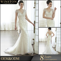 2016 Hot Sale Heavy Beaded Sexy Alibaba Lace Wedding Gowns