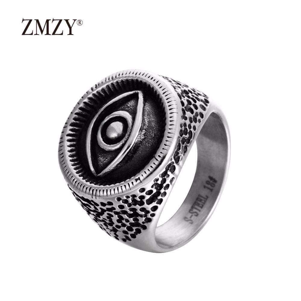 ZMZY brand wholesale big eyes men male ring jewelry customize 316L stainless steel ring