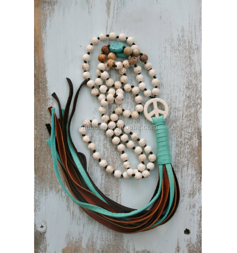 N15100708 Long Tassel Necklace Peace Sign Druzy Pendant Necklace,Hand Knotted Turquoise Knot Beads Necklace