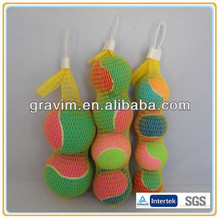 Double color mini tennis balls packed in net bag