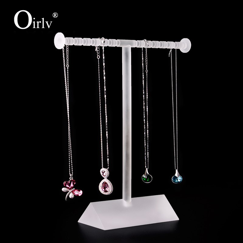 Oirlv Factory Custom Matte Acrylic Block Jewelry Display Stands Shelf Necklace Holder T Bar Bracelet Stand