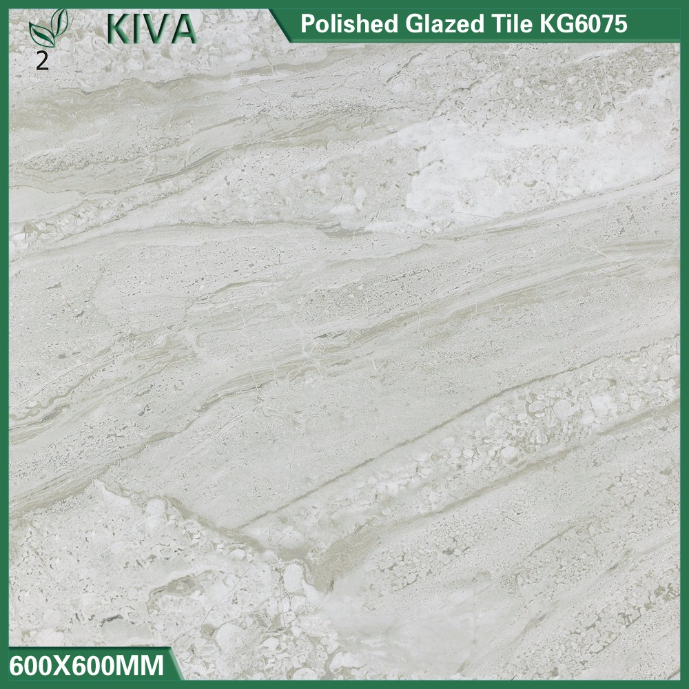 Marble texture digital printed polished glazed porcelain tile 600x600mm