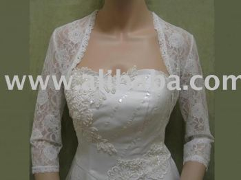White 3/4 sleeve bridal lace bolero jacket shrug