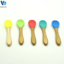 Heat Resistant Silicone Any Color Safe & Soft Spoon With Wooden Handle