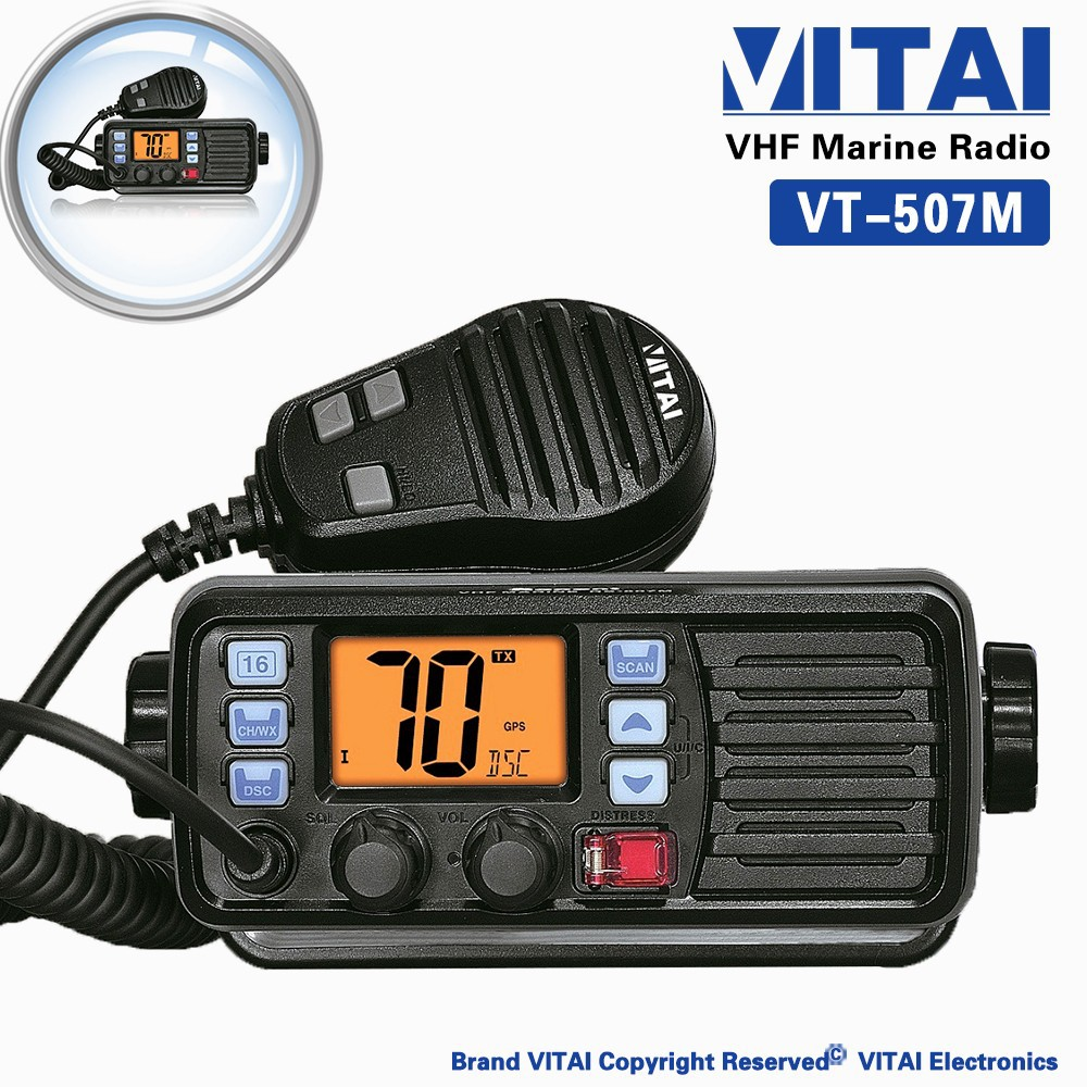 VITAI VT-507M Dual-watch and Tri-watch Function VHF 156-163MHz IP-X7 Marine Transceiver Two Way Radio