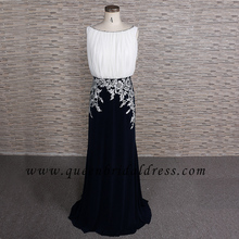 Fashion bateau neckline applique the lace floor length chiffon mother of bride dress