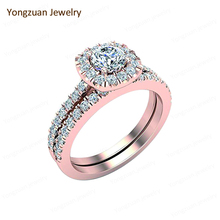 Wholesale Diamonds Africa Custom AU750 Rose Gold Round Brilliant Cut H Color Promise Unisex Finger Rings