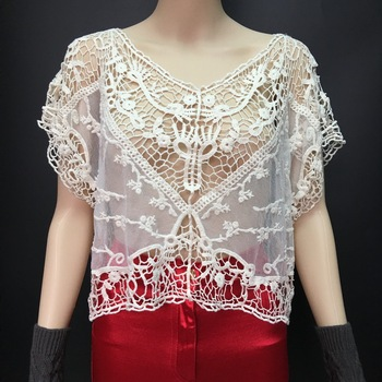 Women summer fashion short sleeve white lace tops 2016 fashion crochet top
