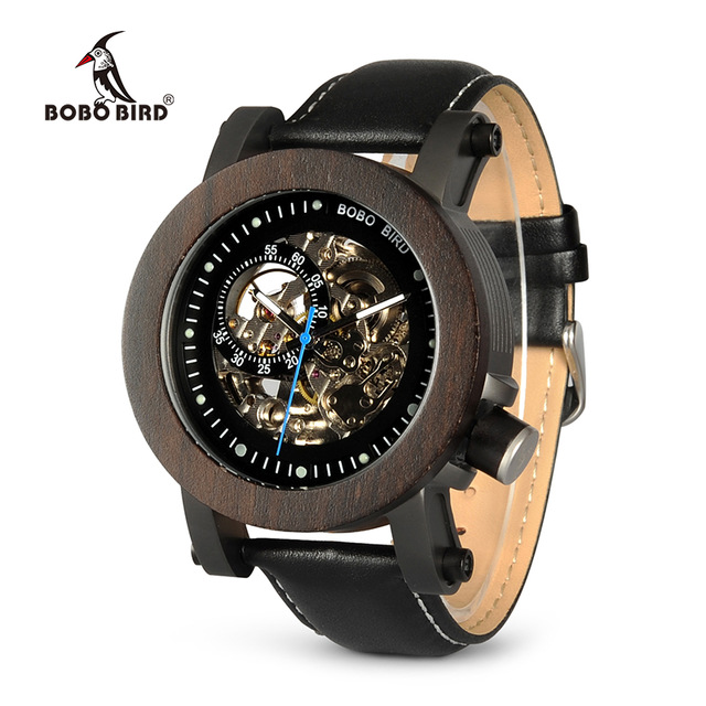 BOBO BIRD K10-14 Ebony Wood Mens Watches Vintage Bronze Skeleton Male Antique Steampunk Casual Automatic Watch Montre Homme