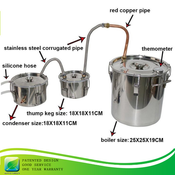Moonshine Ethanol Stainless 8 Litre Spirits pot still distillation with high quality